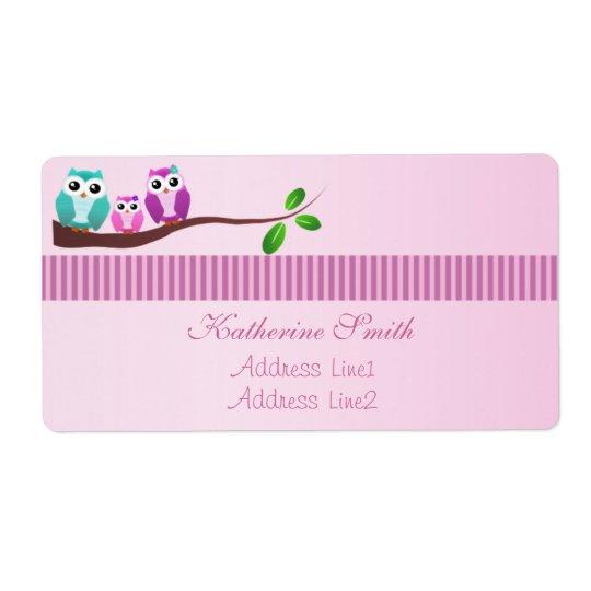 Owl Baby Shower Address Label Pink