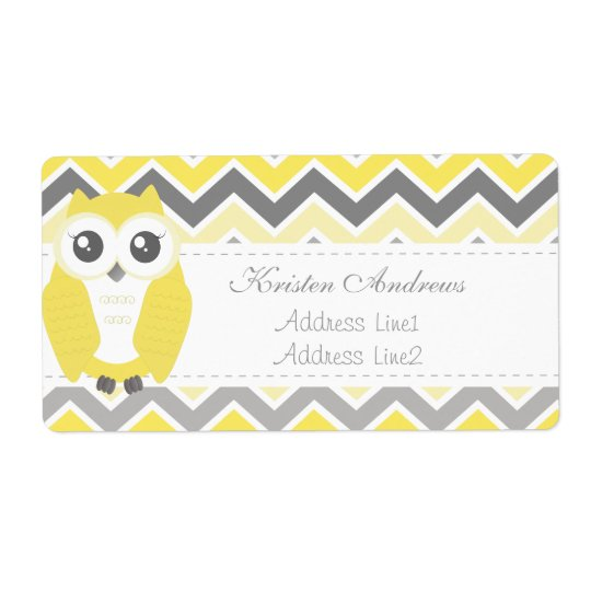 Owl Baby Shower Address Label Yellow Chevron