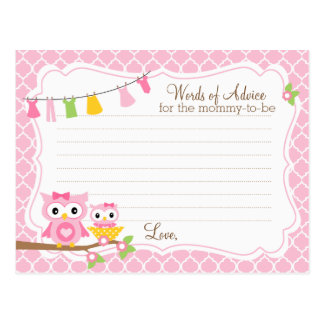 Owl Baby Shower Advice card for the mom to be Postcard