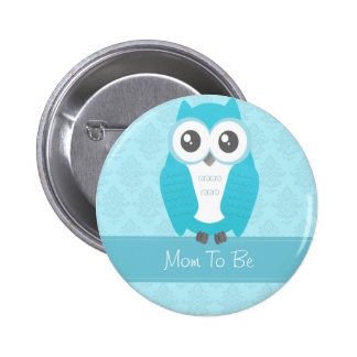 Owl Baby Shower Button Blue