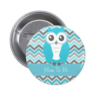 Owl Baby Shower Button Chevron Blue Buttons