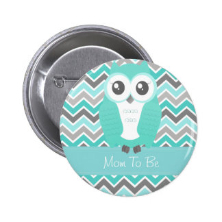 Owl Baby Shower Button Chevron Green Pins