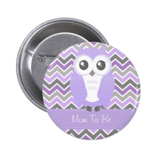 Owl Baby Shower Button Chevron Lilac Pinback Button