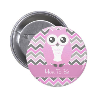 Owl Baby Shower Button Chevron Pink Pin
