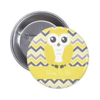 Owl Baby Shower Button Chevron Yellow Pinback Button