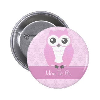 Owl Baby Shower Button Pink