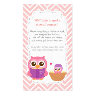 Owl Baby Shower Chevron Book Insert Request Card Business Card Templates
