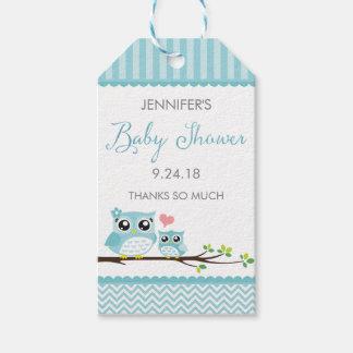 Owl Baby Shower Favor Tag | Blue Chevron Hang Tag