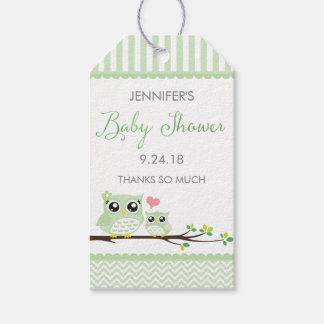 Owl Baby Shower Favor Tag | Green Chevron Hang Tag