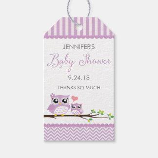 Owl Baby Shower Favor Tag Purple Chevron Hang Tag