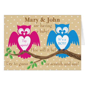 Owl baby shower gender reveal greeting card