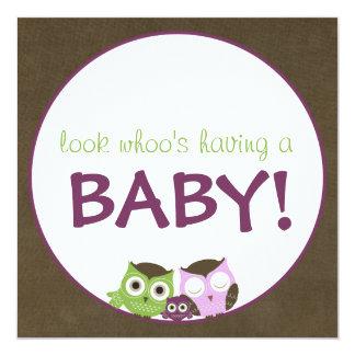 Owl Baby Shower   Girl >> brown, green & purple Card