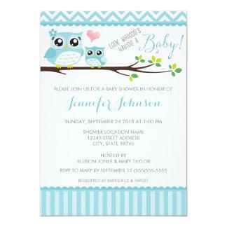 "Owl Baby Shower Invitation | Blue Chevron | Boy 5"" X 7"" Invitation Card"