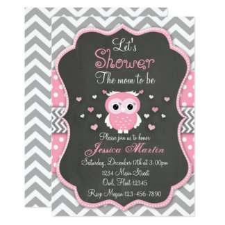 Owl Baby Shower Invitation, Chevron, Chalkboard 13 Cm X 18 Cm Invitation Card