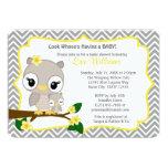 Owl Baby Shower invitation Chevron Grey Yellow 160