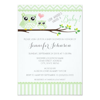 "Owl Baby Shower Invitation | Green Chevron 5"" X 7"" Invitation Card"