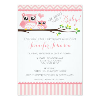 "Owl Baby Shower Invitation | Pink Chevron | Girl 5"" X 7"" Invitation Card"