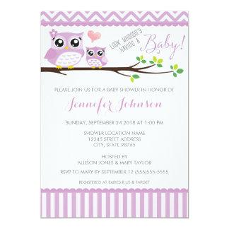 "Owl Baby Shower Invitation | Purple Chevron | Girl 5"" X 7"" Invitation Card"