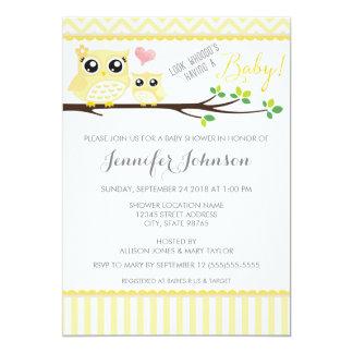 "Owl Baby Shower Invitation | Yellow Chevron 5"" X 7"" Invitation Card"