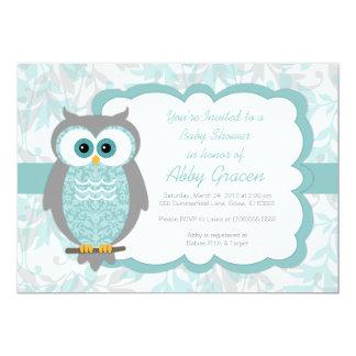 Owl Baby Shower Invitations, Aqua, Gray - 930 13 Cm X 18 Cm Invitation Card