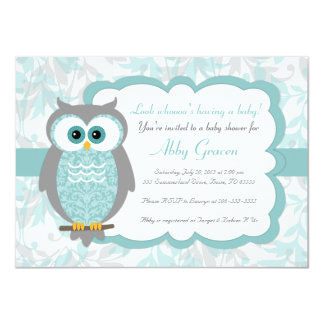 Owl Baby Shower Invitations, Aqua, Gray - 930 Card