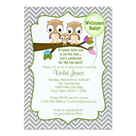 Owl Baby Shower Invitations Baby Mummy Daddy