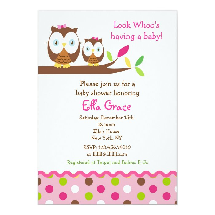 Owl Baby Shower Invitations Girl