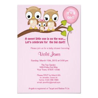 Owl Baby Shower Invitations Girl Mommy Daddy