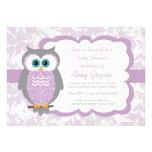 Owl Baby Shower Invitations, Purple, Grey - 730