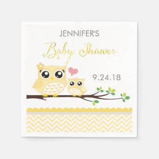 Owl Baby Shower Napkins | Yellow Chevron Disposable Serviette