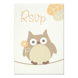 Owl Baby Shower Rsvp Gender Neutral 9 Cm X 13 Cm Invitation Card