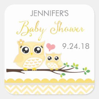 Owl Baby Shower Sticker / Label | Yellow Chevron