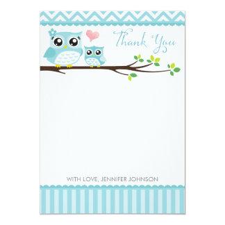 "Owl Baby Shower Thank You Card | Blue Chevron Boy 5"" X 7"" Invitation Card"