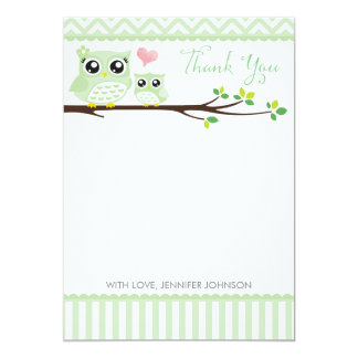 Owl Baby Shower Thank You Card | Green Chevron 13 Cm X 18 Cm Invitation Card