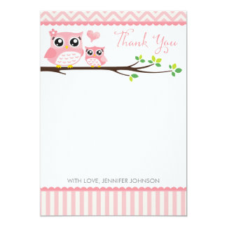 "Owl Baby Shower Thank You Card | Pink Chevron Girl 5"" X 7"" Invitation Card"