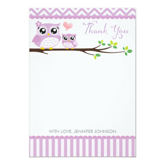 "Owl Baby Shower Thank You Card Purple Chevron Girl 5"" X 7"" Invitation Card"