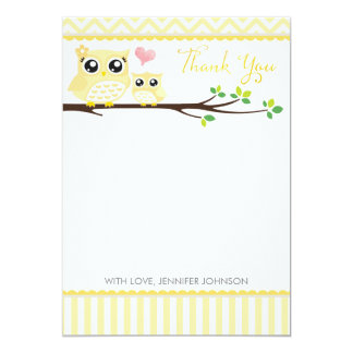 "Owl Baby Shower Thank You Card | Yellow Chevron 5"" X 7"" Invitation Card"