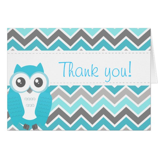 Owl Baby Shower Thank You Note Blue Chevron Card