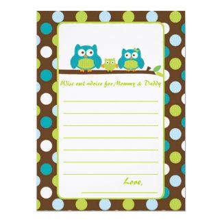 "Owl Baby Shower ""Words of advice"" 17 Cm X 22 Cm Invitation Card"