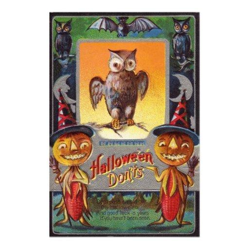 Owl Bat Crescent Moon Jack O' Lantern Photographic Print