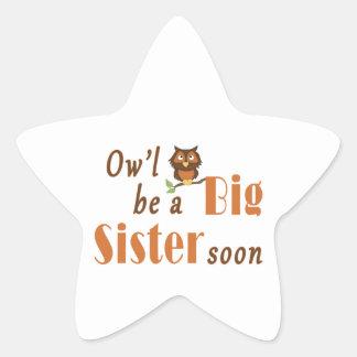 Ow'l Be A Big Sister Soon 2 Star Sticker