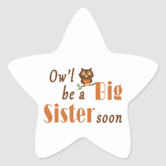 Ow'l Be A Big Sister Soon 2 Star Stickers