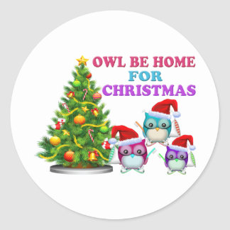 Owl Be Home For Christmas Stickers