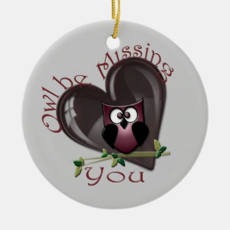 Owl be Missing You, Cute Owl and Heart Ornament