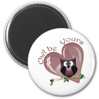 Owl be Yours, Valentine Red Owl and Heart 6 Cm Round Magnet