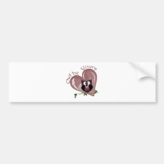 Owl be Yours, Valentine Red Owl and Heart Bumper Sticker