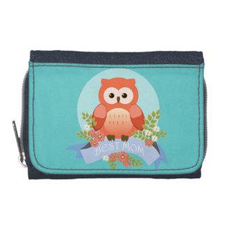 Owl best mom flower banner wallet