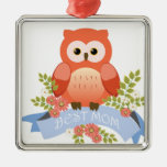 Owl best mum flower banner Silver-Colored square decoration
