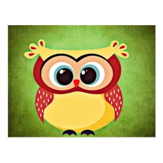 """owl"" ""big eyed"" ""blue eyed owl"" ""yellow owl"" ""cut postcard"