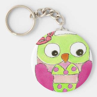 Owl Bikini Basic Round Button Key Ring